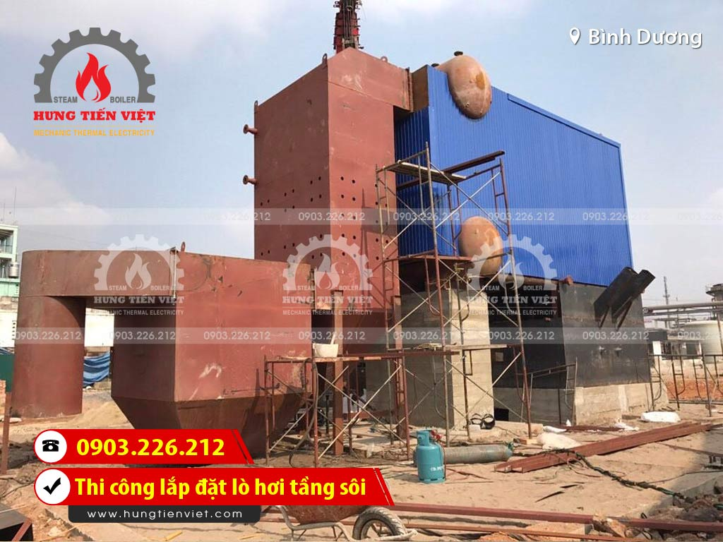 Công ty Hưng Tiến Việt - Kỹ sư và thợ thi công đang triển khai dự án thi công & lắp đặt lò hơi tầng sôi tại Thị xã bến cát, Bình Dương. ☎ 0903.226.212 #noihoitangsoi #lohoitangsoi #noihoi #lohoi